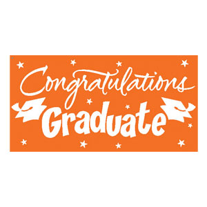 Orange Congrats Grad 10 ft. Banner