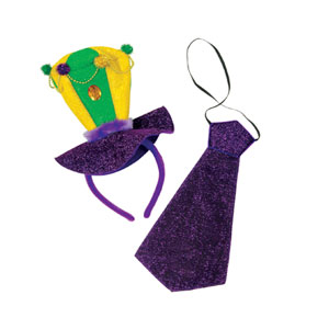 Mardi Gras Hat and Tie Set