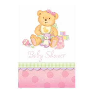 Precious Pink Bear Invitations - 8ct