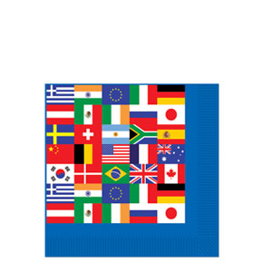 International Flag Beverage Napkins- 16ct