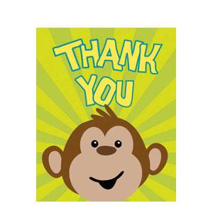 Monkeyin' Around Thank You Cards- 8ct