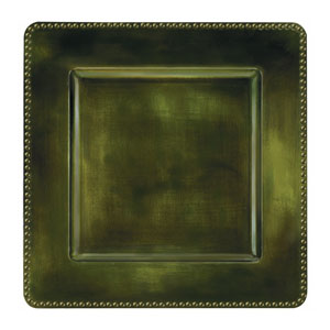 Green Square Metallic Charger- 12 Inch