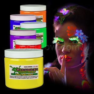 Glominex Glow Body Paint 16oz Jars - Assorted