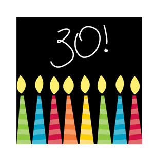 30 Candles Beverage Napkin - 16ct
