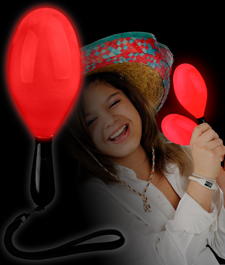 Fun Central AI672 LED Light Up Maraca Supreme - Red 7 Inch