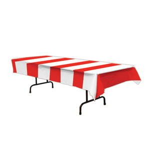 Red and White Stripes Tablecover - 54in x 108in