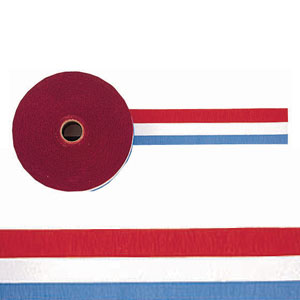Red White and Blue Crepe Streamer - 500ft