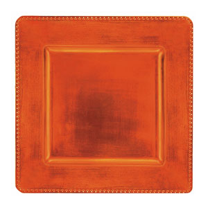 Orange Square Metallic Charger- 12 Inch