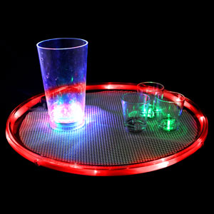Lighted 14 Inch Serving Tray - Red