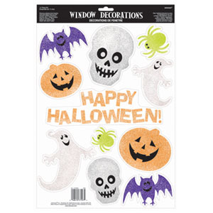 Glitter Halloween Vinyl Window Decoration- 11ct