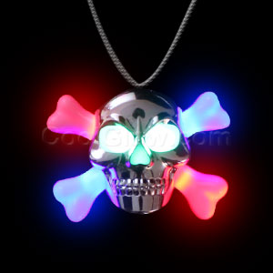 LED Metallic Skull Necklace - Multicolor