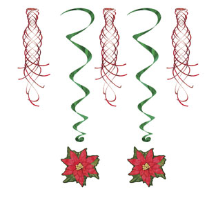 Poinsettia Shimmers and Whirls - 5ct