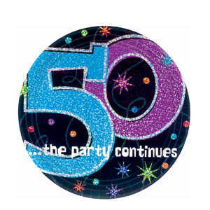 The Party Continues - 50 9 Inch Prismatic Plates- 8ct