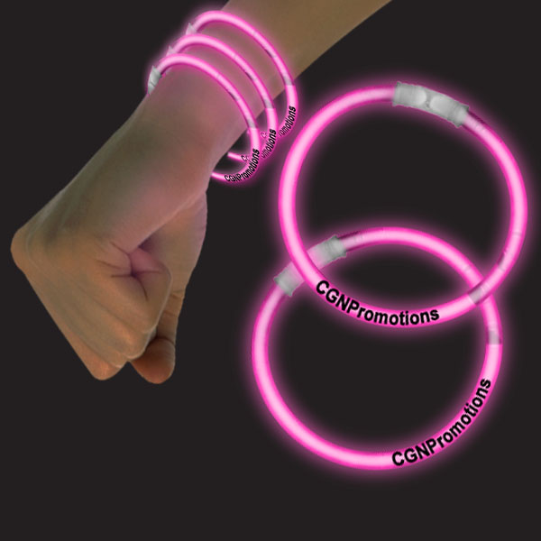 8 Inch Glow Bracelets - Pink