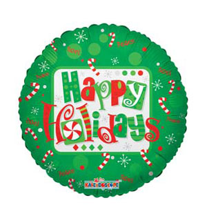 Happy Holidays Green Foil Balloon - 18 Inch