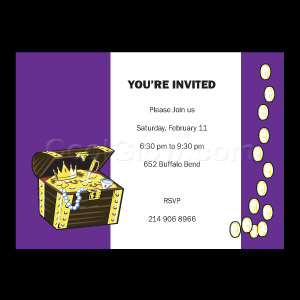 Treasure Chest Purple - Custom Invitations