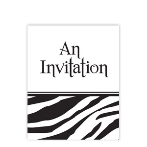 Zebra Foldover Invitations