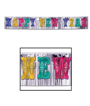 Giant Metallic Happy New Year Banner Mutli Color - 15ft