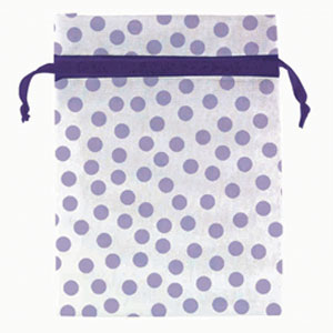 Baby Shower Organza Favor Bags - Purple Dots