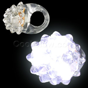 Fun Central AD627 LED Jelly Bumpy Rings - White 24ct