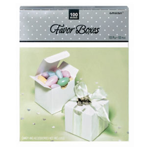 White Wedding Favor Boxes - 100ct