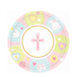 Sweet Christening Pink 10 Inch Plates- 8ct