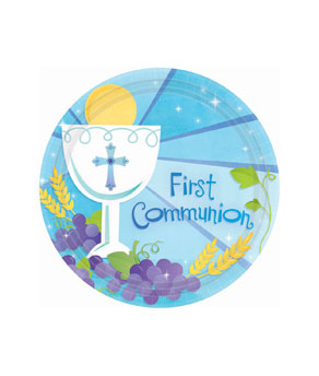 First Communion Blue 7 Inch Plates- 18ct
