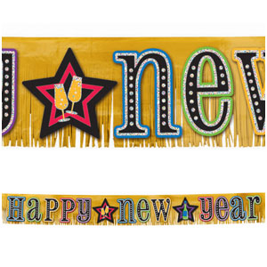 Glitter Fringe Giant Banner  - Gold 9ft