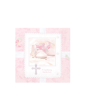 Tiny Blessing Pink Beverage Napkins- 16ct