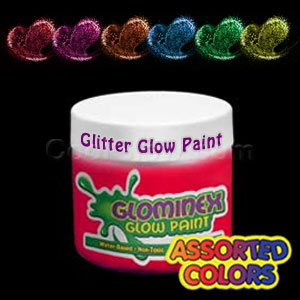 Glominex™ Glitter Glow Paint 8 oz Assorted Jars - 6