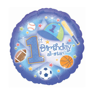 First Birthday All-Star Balloon - Metallic