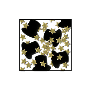 Top Hats and Mini-Stars Confetti - Gold