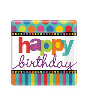 Birthday Dots and Stripes 7 Inch Square Plates- 8ct