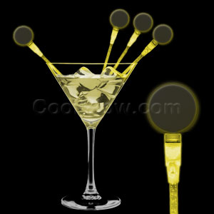 LED Circle Cocktail Stirrers - Yellow