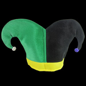 Jester Joker Hat - Green Yellow and Black