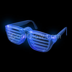 LED Rock Star Shutter Slotted Shades - Blue
