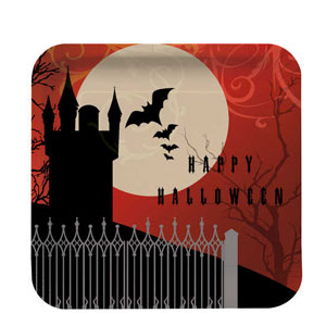 Frightful Night Deep Dish 9 Inch Square Plates- 8ct