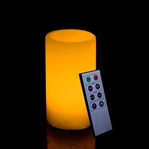 6 Inch Flameless Remote Control Pillar Candle - Smooth Edge - Yellow