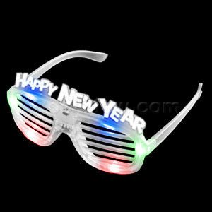 LED New Year Shutter Slotted Shades - Multicolor