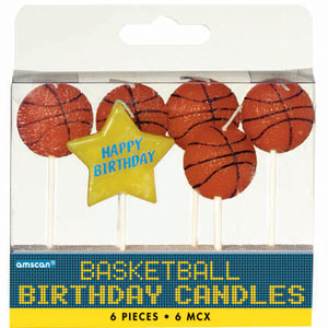 Basketball Birthday Pick Candles- 6ct