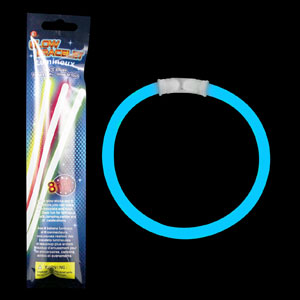 8 Inch Retail Packaged Glow Bracelets - Blue