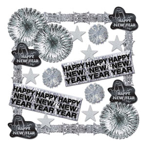 Shimmering New Year's Decorating Kit - Silver