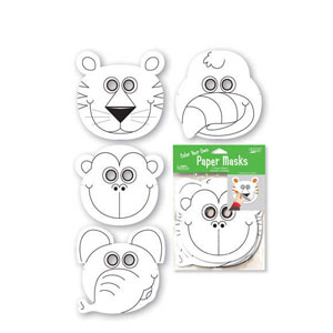 Jungle Buddies Color-Your-Own Paper Masks- 12ct
