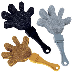 Black Silver and Gold Glitter Hand Clapper- 12ct