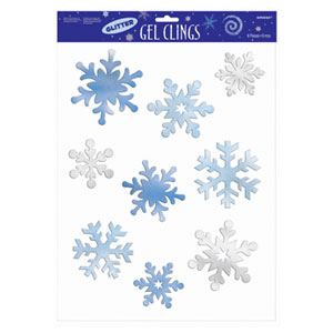 Snowflakes Glitter Large Gel Clings- 9ct