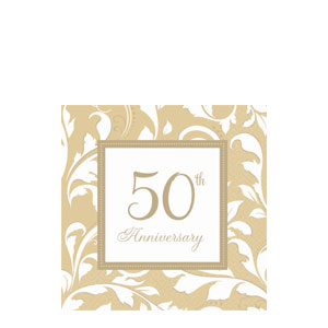 Gold Elegant Scroll Anniversary Beverage Napkins- 16ct