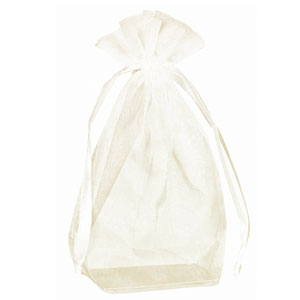 Box Bottom Organza Bag - Ivory 12 Ct