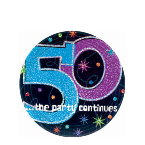 The Party Continues - 50 7 Inch Prismatic Plates- 8ct