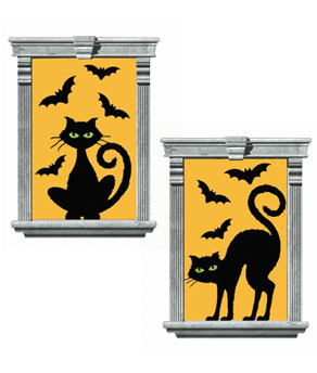 Cats & Bats Window Silhouettes- 2ct