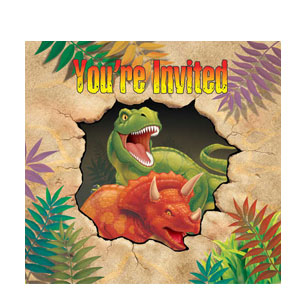 Dino Blast Gatefold Diecut Invitations- 8ct